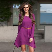 Wholesale Women Wholesale Slit Skirt - 2016 Autumn New Stitching Irregular Slim Sexy Slit Skirt Tight Word Shoulder Fashion Purple Jumpsuit Dress B-2923