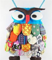 Wholesale Kids School Cloths - Preschool Cute Owl Shoulder Bag Children Toddler Stitch Cotton Cloth Nursery School Backpack Kids Child Kindergarten Back Pack Infant Gift