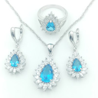 Wholesale Blue Topaz Ring Sterling - 2016 Hot sell Newest Sterling Silver 925 AAA zircon Jewelry Sets For Women Aqua Blue Topaz Necklace Pendant Earrings Rings Free A003