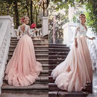 Wholesale Top Fall Winter Wedding Dresses - 2017 Newest Blush Pink Country Wedding Dresses with Sleeves Deep V Neck Illusion Top Lace Appliques Colored Tulle Skirt Bridal Gowns Custom