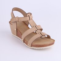 Wholesale Nude Open Toe Platform Wedges - HEYIYI Brand Women Plus Size Ladies' Platform Sandals Wedge Soft PU Leather Women's Casual Shoes Lightweight Rivet Gladiator Round Toe