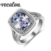 Wholesale White Wedding Ring Cushion - Vecalon Cushion cut 10ct Simulated diamond ring 192pcs Cz Stone 14KT White Gold Filled Engagement Wedding band Ring for Women Sz 5-11