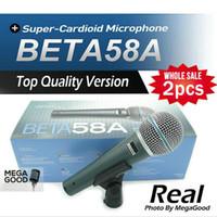 Wholesale Dynamic Vocal Microphone - microfono 2pcs Top Quality Version Beta 58 a Vocal Karaoke Handheld Dynamic Wired Microphone BETA58 Microfone Beta 58 A Mic free mikrafon