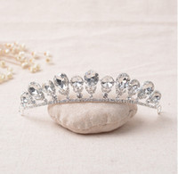 Wholesale Girls Pageant Crowning Dresses - The Actual Shooting Ladies Girl Tiara Crown Jewelry Q21 Pageant Silver Rhinestone Sparkling Evening Prom Party Dresses Accessories Supplie