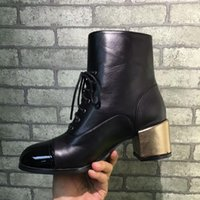 Wholesale L M B Boots - 2017 CHA**L Women Genuine Leather Chunky Heel Shoes Fashion Chain Pumps Spring Autumn Slip on Leather Shoes Black Gold Luxurious Brand Boots