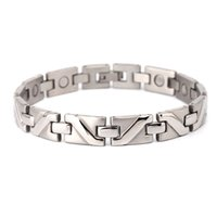 Wholesale Magnetic Polish Design - Stainless steel polished finish men chain bracelet sport magnetic wrist bangle jewelry magnetic bracelet therapeutic man design