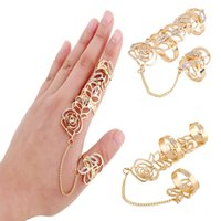 Wholesale Rhinestone Floral Bling Wholesale - 2016 Bling Vintage Hollow Floral Knuckle Long Ring Finger Armor Rose Gold Tone Rose Punk Rock Rhinestone Ring Set D846L