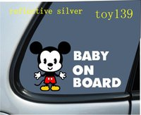"Wholesale Mouse Decal - Mickey & Minnie Mouse  ""BABY ON BOARD""   funny diy Car phone wall window Decal sticker  reflective silver"