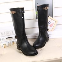 Wholesale Buckled Knee High Boots - Free Shipping Winter Boots Cowskin Buckle Genuine Leather Black Color Chunky Heel Knee High Boots Women Shoes Martin Boot Sz 35-40