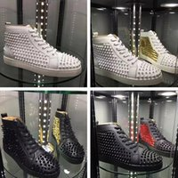 Wholesale Men High Top Dress Shoes - 2018 Hot Sell Name Brand Red Bottom Sneaker Shoe Man Casual Woman Fashion Rivets High Top Men Dress Party Cheap Sneakers With Box