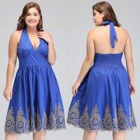 Wholesale Designer Halter Evening Gown - Plus Size Royal Blue Gold Appliqued Mother of Bride Groom Dresses Designed Real Photos 2018 Cheap Halter Short Party Evening Gowns 570