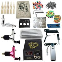Wholesale Top Rotary Tattoo Guns - Professional Top Tattoo Kit 2 Spektra Halo Rotary Machine Guns Power Supply Needles Grips Tips Tattoo Kits Free Shipping