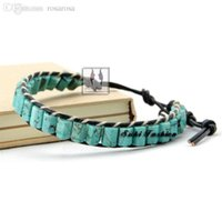 Wholesale Single Strand Leather Bracelet - Wholesale-Natural Turquoise Stone Single Strand Leather Wrap Bracelet Braided Beaded Wrap Bracelet with Turquoise Unisex Leather Bracelets