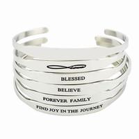 braceletes inspirados para homens venda por atacado-2017 Hot 316L Aço Inoxidável Citações Inspiradas Pulseiras Mulheres Mantra Jóias Presente Carta Bangle Arm Cuff Bracelet