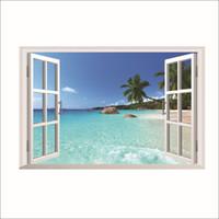 ingrosso visualizzazione delle finestre 3d-3D Hawaii Holiday Sea View Beach Window Visualizza Decalcomania da muro Sticker Home Decor