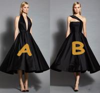 bir omuz küçük siyah elbiseler toptan satış-İki Stil Little Black Abiye 2017 Derin V Yaka Veya Tek Omuz Saten Gelinlik Çay Boyu Örgün Parti Kokteyl Elbiseleri