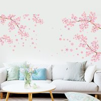 Wholesale Blossom Tree Sticker - Extra Large Pink Plum Blossom Flowers Tree Branches Wall Stickers for Living Room TV Background Decor Removable PVC Wall Applique Home Deocr