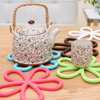 Wholesale Silicone Pads Pc - 5 Pcs lot Beautiful Flower Shaped Colored Silicone Round Table Heat Resistant Mat Cup Coffee Coaster Cushion Placemat Pad