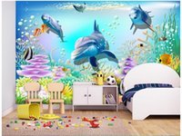 Wholesale Mediterranean Sea Painting - 3d wallpaper custom photo non-woven mural Sea world dolphin for kids room decoration painting picture 3d wall room murals wallpaper