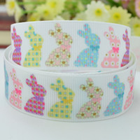 """Wholesale Wholesale Easter Grosgrain Ribbon - Free shipping 7 8"""" 22mm Easter Rabbit painted eggshell Printed grosgrain ribbon hairbow DIY handmade wholesale OEM 50YD"""