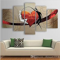 Wholesale Hand Wall Art - 5 Pieces Pure Hand Painted Abstract Heart Oil Painting on Canvas Modern Home Wall Art Decoration Gift