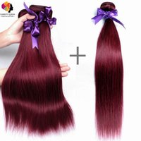 Günstige Red 4 Bundles Of Brazilian Straight Hair Extensions, Burg Color Hair Extensions für Verkauf, schlanke Rotwein Human Hair Weft Extensions