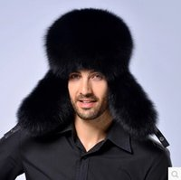 Wholesale Top Trapper Hats Men - Hot Sale Star Fur 2015 Genuine Silver Fox Fur Hats Men Real Raccoon Fur Lei Feng Cap For Russian Men Bomber Hats With Leather Tops