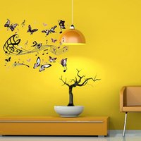 Wholesale Musical Butterfly Wall Vinyl - Beautiful Design Removable DIY Butterfly Musical Notes Home Decro Livingroom Bedroom Wall Sticker Hot Sale