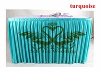 Wholesale Table Cloth Cheap Price - Cheap Price Turquoise Color Satin Table Skirt Wedding Table Cloth Skirting Free Shipping