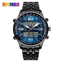 Wholesale Alarm Watch Water - SKMEI Brand Sport Watch Men Alarm Calendar Dual Display Wristwatches Waterproof Army Back Light Stainless Steel Strap Quartz Relogio