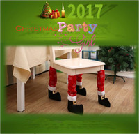 Wholesale Wholesale Fabric For Chair Covers - Christmas Chair Leg Foot Cover Table Christmas Decoration for Party Dinner Red Desk Cover Decor 40 *21cm YYA667