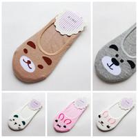 Wholesale Bear Kitty - Wholesale-Fashion Women Invisible Cotton Socks Nonslip Loafer Liner Low Cut Cartoon Animal lady Necessity Kitty Rabbit Bear