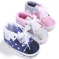 Wholesale Baby Girl Camo - Wholesale- First Walkers Baby Girl Pink Camo Sequins Sport Shoes Soft Sole Walking Sneakers Newborn to 18 Months