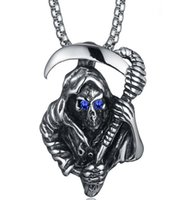 Wholesale Titanium Rope Necklace Sale - 2016 Hot Sale Personality Fashion Jewelry Men Necklaces Titanium Steel Death Skull Pendant Necklaces Nightclub Style Scythe of Death