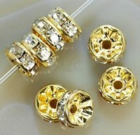 Wholesale Gold Loose Beads For Jewelry - 8MM White Crystal Spacer Metal Gold Plated Rondelle Rhinestone Loose Beads For Best DIY Jewelry Making bead fit Bracelet