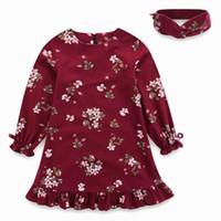 Wholesale European Headbands - Retail 2017 Autumn Girls Dresses Long Sleeve Floral Princess dress Fall Kids Clothes With Headband 6M-12Y E1703