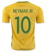 Wholesale Wholesale Jersey S America - 2016 Copa America national team Brazil home NEYMAR JR #10 Zico #10 Soccer Jerseys shirts,Thai Quality Customized Ronaldinho 10 football wear