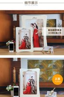 Wholesale Wholesale 3d Photo Frames - templete12inch photo frame rectangle 3D diamante-embroidered eco-friendly material with diamante edged elegant picture frame can be standing