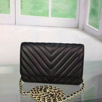 Wholesale classic flap bag for sale - Classic WOC Mini Bag Original Lambskin Leather Women Chevron Quilting Chain Bags retail with box