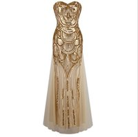 Wholesale Lace Binding - 2016 fashion long golden dress sequins bind strapless evening dress with elegant cultivate one's morality dress Club ball gown