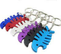 Wholesale Opener Key Chain - 200pcs Key Ring Key Chain Alloy Cool Fish Bone Beer Bottle Opener Keychain Accessories Unique Gifts for Christmas Y50*MHM748#M5