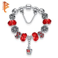 Wholesale Murano Glass Pendants Snake - BELAWANG 4 Colors Silver Plated Charm Bracelets with Snake Chain Royal Crown Pendant&Red Murano Glass Beads Fashion Jewelry Free Shipping