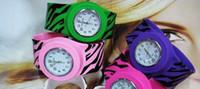 dijital tokluk saatler toptan satış-Kid Için 100 adet / grup Zebra-stripeSilicone Tokat İzle Kauçuk Jöle Dijital Kol Yapış Bilezik G2546 Toptan