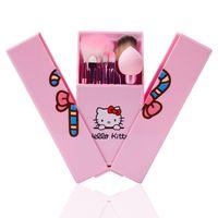 ingrosso set di pennelli a specchio-8 pezzi / set Hello Kitty Makeup Brushes Set Foundation Brush Eye Shadow Cosmetici Make up Kit di strumenti di pennello con scatola a specchio