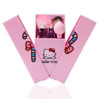 spiegelbürsten-sets groihandel-8 Teile / satz Hallo Kitty Make-Up Pinsel Set Foundation Pinsel Lidschatten Kosmetik Make-Up Pinsel Werkzeuge Kit Mit Spiegel Box