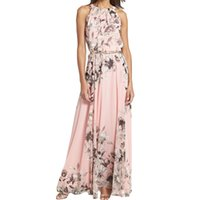 Wholesale Women Evening Gown Maxi Dress - S5Q Women's Summer Sexy Floral Chiffon Beach Long Dress Maxi Evening Party Dress AAAFXD