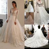 Wholesale Korean Simple Long Dresses - Vintage Plus Size Wedding Dresses With Long Sleeve Lace Applique Court Train Bridal Gowns Sexy Sheer Plunging Neckline Korean Wedding Dress