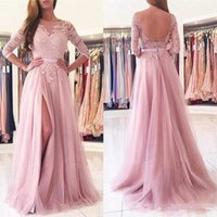 2017 Rosa Eine Linie Sheer Neck Applique Tulle Side Split Abendkleid Sexy Backless 3/4 Langarm Prom Party Kleid Formelle tragen