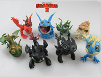 Wholesale Toy Train Packaging - DHL EMS 100SET 5-7cm How to Train Your Dragon2 PVC Action Figures Toy Doll NightFury Toothless Dragon 8pcs Lot OPP Package K7061