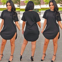 Wholesale green t shirt dress - Plus size Sexy Club Dress 2016 Women mini vestido irregularity t-shirt Dress summer style bandage Bodycon Beach dress